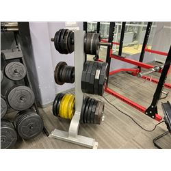 ASSORTED FREE WEIGHTS ON GREY WEIGHT STAND INCLUDING STAND