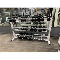 ASSORTED DUMBBELLS & WHITE WEIGHT RACK