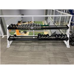 ASSORTED DUMBBELLS & WHITE APEX WEIGHT RACK