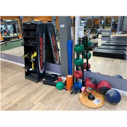 LOT ASSORTED BOXING MATS, GLOVES, TRX SUSPENSION TRAINER, MEDICINE BALLS, KETTLEBELLS & CONTENTS