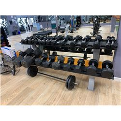 ASSORTED DUMBBELLS, BARBELL & GREY WEIGHT RACK