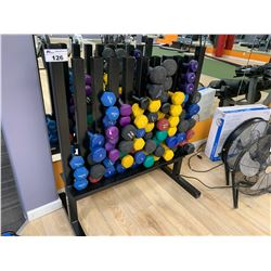 ASSORTED DUMBBELLS & BLACK WEIGHT RACK