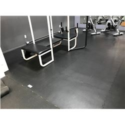 APPROX 24 PCS OF INTERLOCKING BLACK GYM FLOOR MATS LOCATED IN STRETCH AREA