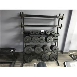 ASSORTED DON OLIVER FREE WEIGHTS, CLIPS & BARS INCLUDING WEIGHT STAND