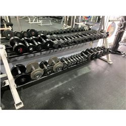 WHITE APEX 2 TIER RACK WITH ASSORTED DUMBBELL WEIGHTS