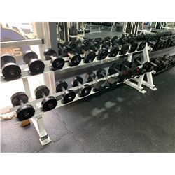 WHITE 2 TIER RACK WITH ASSORTED DUMBBELL WEIGHTS