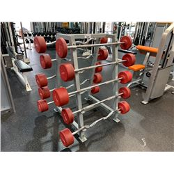 ASSORTED STRAIGHT & EZ CURL BARBELLS WITH GREY RACK