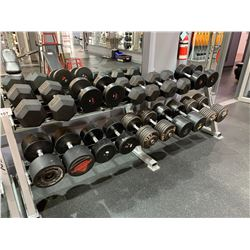 GREY APEX 2 TIER RACK WITH ASSORTED HEAVY DUMBBELL WEIGHTS