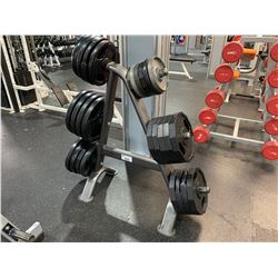ASSORTED WEIGHT PLATES WITH WEIGHT RACK