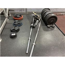 ASSORTED BARBELLS AND ACCESSORIES