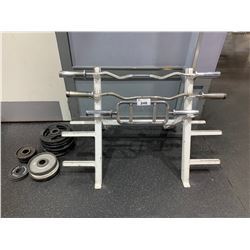 WHITE COMMERCIAL RACK WITH BARS & ASSORTED FREE WEIGHT PLATES