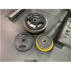 LOT OF ASSORTED FREE WEIGHT PLATES
