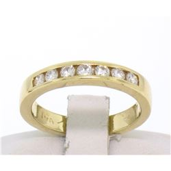 14k Solid Yellow Gold .28 ctw Channel Set 7 Round Diamond Band Ring