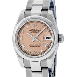 Rolex Ladies Stainless Steel Salmon Quickset Datejust Wristwatch With Rolex Box