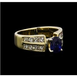 1.32 ctw Sapphire and Diamond Ring - 14KT Yellow Gold