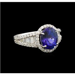 14KT White Gold 3.68 ctw Tanzanite and Diamond Ring