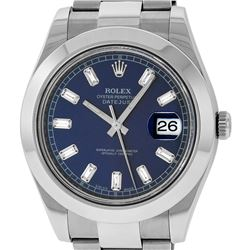 Rolex Mens SS 41MM Blue Baguette Diamond Datejust 2 Oyster Band Wristwatch With