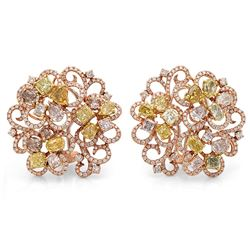18k Three Tone Gold 7.72CTW Diamond, Pink Diamond and Multicolor Dia Earrings, (