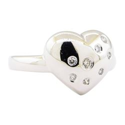 0.20 ctw Diamond Heart Shaped Ring - 14KT White Gold