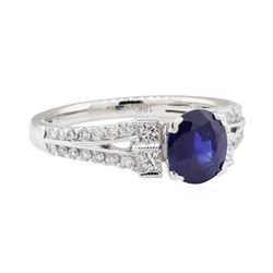 1.98 ctw Sapphire and Diamond Ring - 18KT White Gold