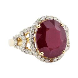10.57 ctw Ruby and Diamond Ring - 14KT Yellow Gold