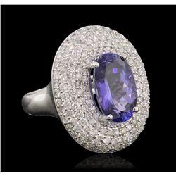 14KT White Gold 4.84 ctw Tanzanite and Diamond Ring