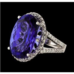 12.38 ctw Tanzanite and Diamond Ring - 14KT White Gold