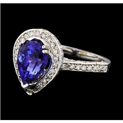 3.17 ctw Tanzanite and Diamond Ring - 14KT White Gold