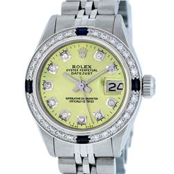 Rolex Ladies Stainless Steel Yellow Diamond & Sapphire Datejust Wristwatch