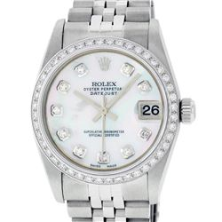 Rolex Womens Midsize 31mm MOP Diamond Bezel Jubilee Band Datejust Wristwatch