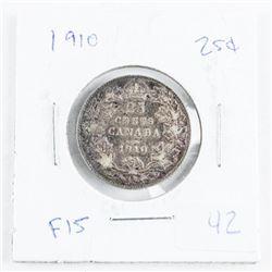 1910 Canada 925 Silver 25 Cent Coin