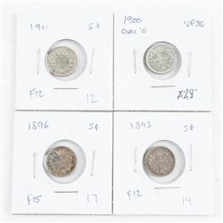 Group of (4) 925 Silver Canada 5 cent coins: 1893,