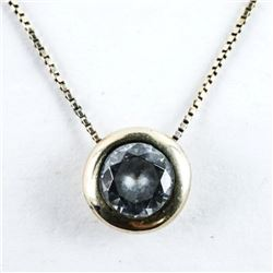 Estate 10kt Gold Necklace, Bezel Set Solitaire