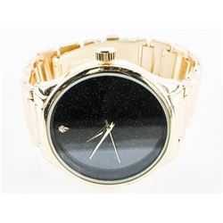 Unisex Quartz Watch Black Face - Gold Tone