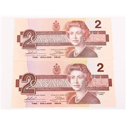 Lot (2) Bank of Canada 1986 2.00 UNC 2 Consecutive