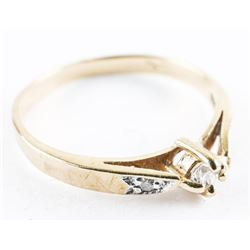 Estate Ladies 10kt Gold Diamond Sweetheart Ring. S