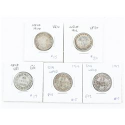 Group of (5) NFLD 20 Cents 1881, 1900, 1912, 1917,