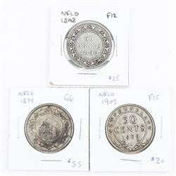 Group of (3) 925 Silver NFLD 50 Cents: 1874-1898-1