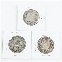 Group of (3) Silver Canada 50 cent: 1906, 1909, 19