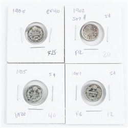 Group of (4) 925 Silver Canada 5 cent coins: 1901,
