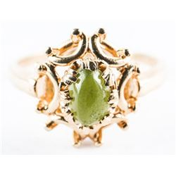 Estate Ladies 10kt Gold Fancy Ring, Cabochon Jadei