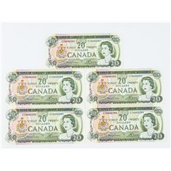 Lot (5) Bank of Canada 1969 20.00 In Sequence (EZ)