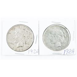 Lot (2) USA Silver Peace Dollar: 1924 and 1926