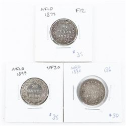 Group of (3) NFLD 20 Cents: 1872, 1880, 1899