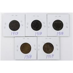 Lot (5) 1918 Canada Large 1 Cent Coins