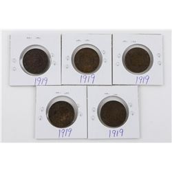 Lot (5) 1919 Canada Large 1 Cent Coins