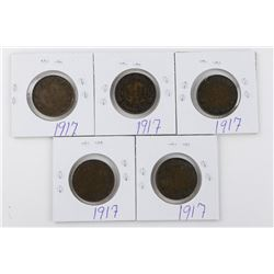 Lot (5) 1917 Canada Large 1 Cent Coins