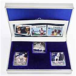 1976 - Olympics 3 Stamp Set .9999 Fine Silver Plus