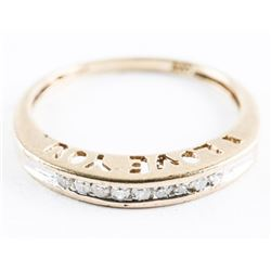 Estate Ladies 10kt Gold Diamond Band Ring, Channel