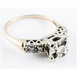 Estate 14kt Gold, Diamond Solitaire Ring. Size 5.5